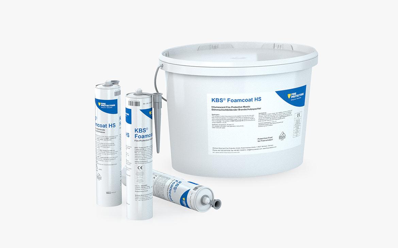 KBS® Foamcoat HS: Kunststoffgebinde mit 15 kg Inhalt; Kartuschen mit 310 ml Inhalt