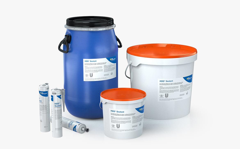 KBS® Sealant: Kunststoffgebinde mit 7, 25 und 35 kg Inhalt; Kartusche mit 310 ml Inhalt